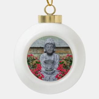 Little Buddha Sculpture Collage Ceramic Ball Christmas Ornament