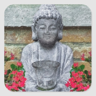 Little Buddha Sculpture Collage Square Stickers