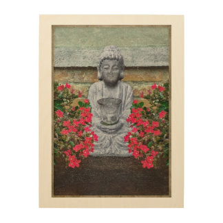 Little Buddha Sculpture Collage Wood Prints