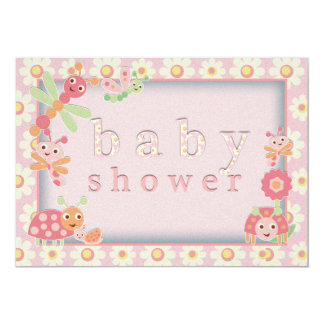 """Little Bugs Baby Shower Invitations Pink 5"""" X 7"""" Invitation Card"""