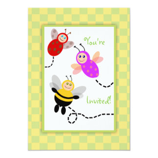"Little Bugs Ladybug, Bumble Bee, Butterfly Party 5"" X 7"" Invitation Card"