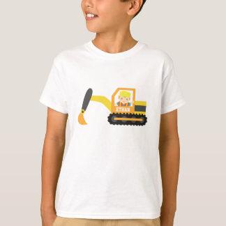 Little Builder Boy Excavator Construction Vehicle T-Shirt