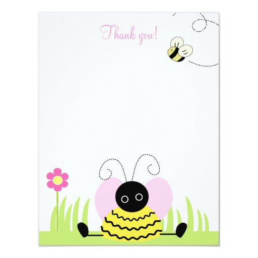 Little Bumble Bee 4x5 Flat Thank you note Card