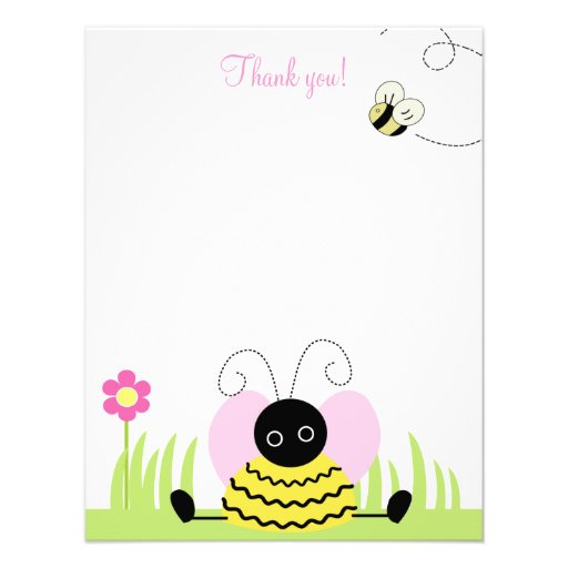 Little Bumble Bee 4x5 Flat Thank you note Personalized Invites