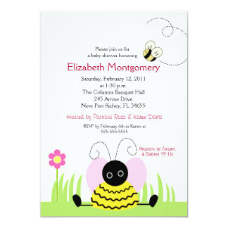 Little Bumble Bee Baby Shower 5x7 Card