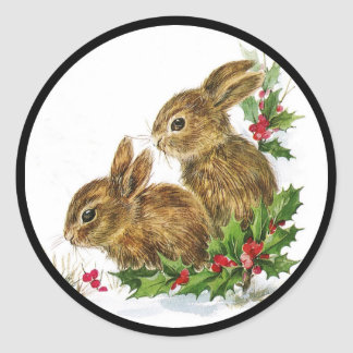 Little Bunnies Christmas Classic Round Sticker