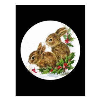 Little Bunnies Christmas Postcard