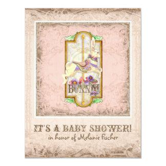 Little Bunny Baby Girl Circus Carousel Vintage Art Card