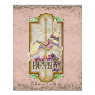 Little Bunny Baby Girl Circus Carousel Vintage Art Posters
