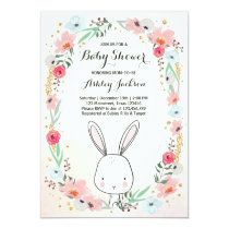 Little Bunny Baby Shower invitation Floral Girl