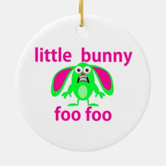 LITTLE BUNNY FOO FOO Double-Sided CERAMIC ROUND CHRISTMAS ORNAMENT