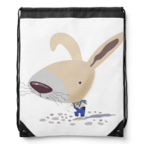 Little Bunny In Blue Pants Drawstring Backpack