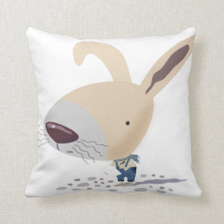 Little Bunny In Blue Pants Writing Throw Pillows