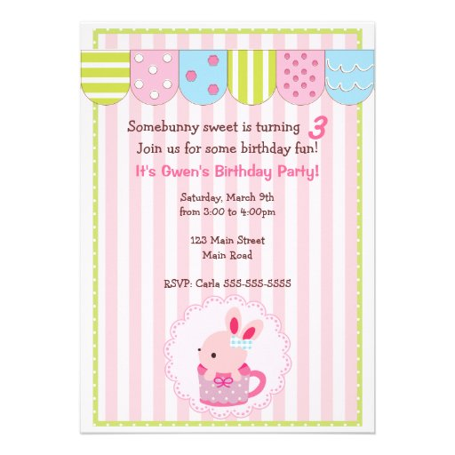 Little Bunny in Cup Girl Birthday Party Personalized Announcements