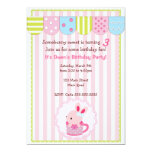 """Little Bunny in Cup Girl Birthday Party 5"""" X 7"""" Invitation Card"""