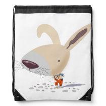 Little Bunny In Orange Pants Drawstring Backpack
