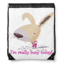 Little Bunny In Pink Custom Drawstring Backpack