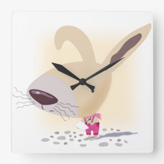Little Bunny In Pink Pants Square Wall Clock