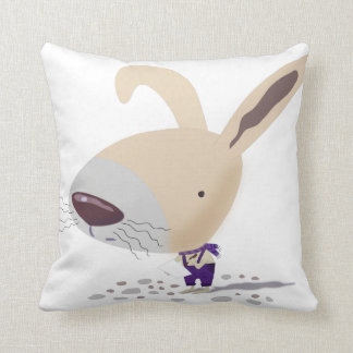 Little Bunny In Purple Pants Writing Throw Pillows