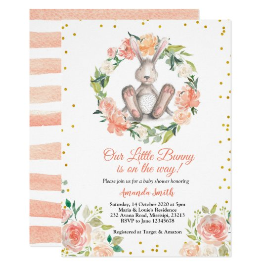 Little Bunny Is On The Way Easter Baby Shower Invitation