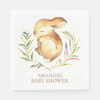 Little Bunny Neutral Baby Shower Paper Napkins