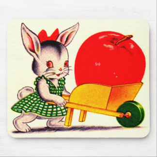 little bunny pushing cart with great big apple mouse pad