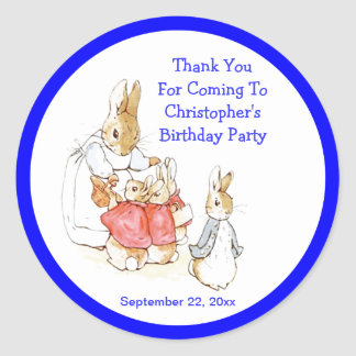 Little Bunny Rabbits Baby Boy Birthday Thank You Classic Round Sticker