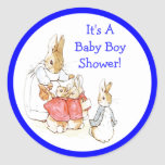 Little Bunny Rabbits Baby Boy Shower Invitation Round Stickers
