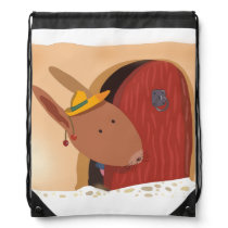 Little Bunny With Cherry Drawstring Backpack Beige