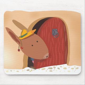 Little Bunny With Cherry Mousepad Light Beige