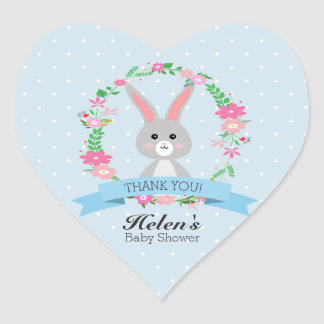 Little Bunny with florals wreath Baby Shower Heart Heart Sticker