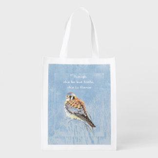Little But Fierce Shakespeare Quote Kestrel Bird Reusable Grocery Bags