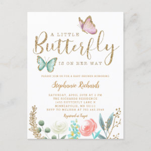 Little Butterfly Is On Her Way Gold Baby Shower Invitation Postcard