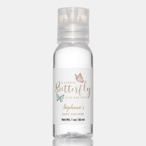 Little Butterfly Pink Mint Baby Shower Hand Sanitizer
