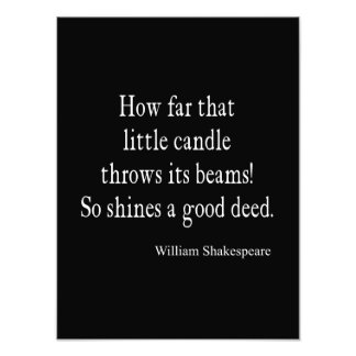 Little Candle Shines Good Deed Shakespeare Quote Photo Print