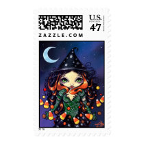 art, fantasy, halloween, hallowe'en, halloween candy, witch, witches, candy corn, candy, corn, night, hat, pointy hat, moon, star, stars, eye, eyes, big eye, big eyed, jasmine, becket-griffith, becket, griffith, jasmine becket-griffith, jasmin, strangeling, artist, goth, gothic, fairy, gothic fairy, faery, fairies, faerie, fairie, lowbrow, low brow, big eyes, Selo postal com design gráfico personalizado
