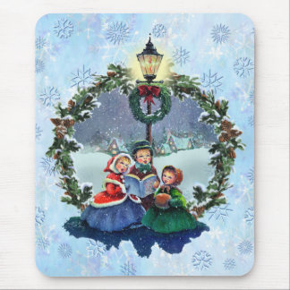 LITTLE CAROLERS & WREATH by SHARON SHARPE Mouse Pad