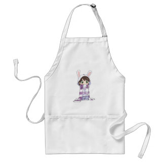Little Cartoon Girl in Bunny Hood and Scarf Adult Apron