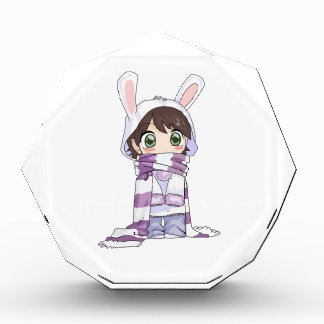 Little Cartoon Girl in Bunny Hood and Scarf Acrylic Award