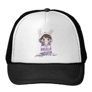 Little Cartoon Girl in Bunny Hood and Scarf Mesh Hats