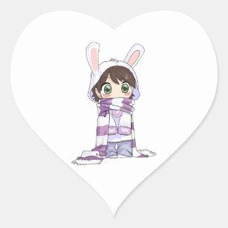 Little Cartoon Girl in Bunny Hood and Scarf Heart Sticker