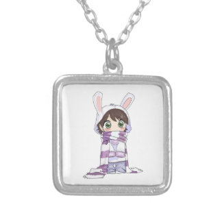 Little Cartoon Girl in Bunny Hood and Scarf Necklaces
