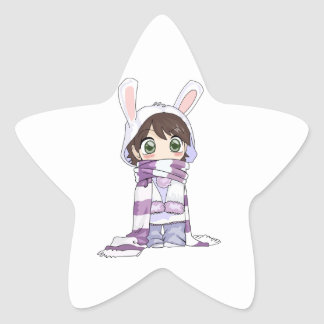 Little Cartoon Girl in Bunny Hood and Scarf Star Sticker