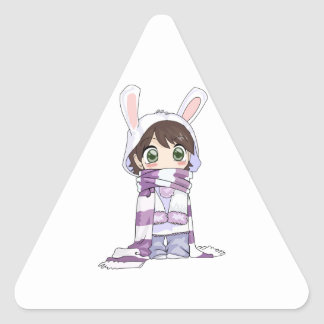 Little Cartoon Girl in Bunny Hood and Scarf Triangle Sticker