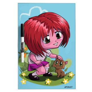 Little cartoon manga girl stroking pet cat Dry-Erase board