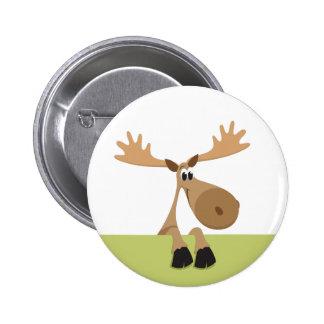 Little cartoon moose - green version pinback button