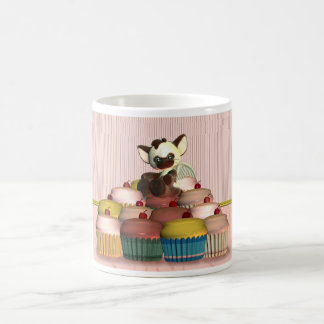 little cat angel on fairy cake, cupcake classic white coffee mug