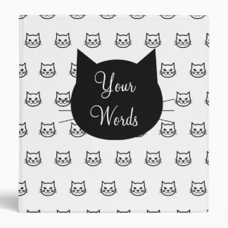 Little Cat Face pattern with black kitty label Binder