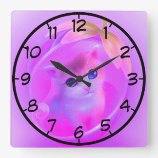 little cat square wall clock
