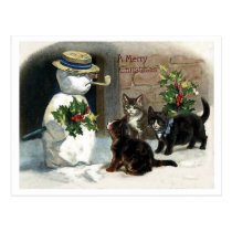 Little cats around Christmas snowman, vintage Postcard